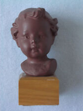 Vintage Porcelain Bisque Goebel Hummel Type Figurine Doll Head - Wood Block 1969