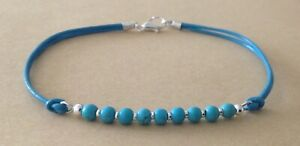 TURQUOISE 4mm Beads, Turquoise Leather Cord, Silver Plated Friendship Bracelet