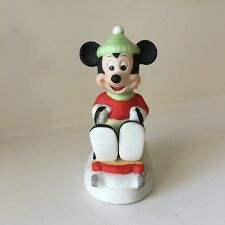 Vintage Walt Disney Productions Mickey Mouse Riding A Sled(Ding) Figurine - Euc