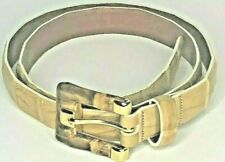 "Carlisle Caiman Crocodile Italy Belt Beige Leather 3/4"" Gold Buckle 29""- 33"" Med"