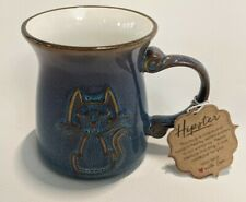 New listing La Rochelle Artisan Crafted Stoneware Mug Blue with Raised Kitty Cat