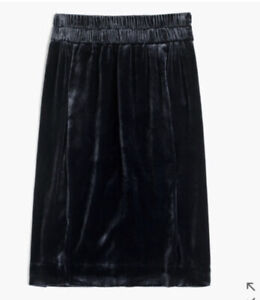 New J Crew Velvet Pull on Skirt Women Xxs Midnight Navy G9355 Silk
