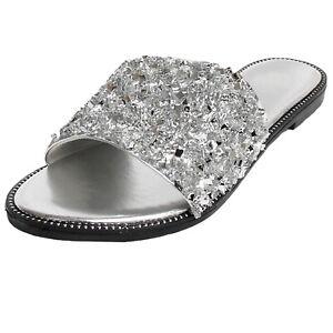 New Women's Glitter Bling Rhinestone Slide Flat Heel Sparkle Sandals Shoes Dream