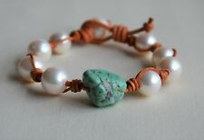 Genuine Turquoise and Pearls on Leather Bracelet Leather and Pearls Yevga