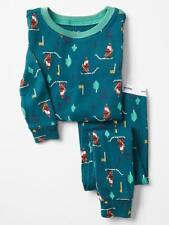 BABY GAP BOYS GIRLS PAJAMAS 2 PIECE GREEN HOLIDAY GAME SIZE 18-24 MONTHS NEW