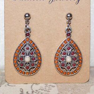 Silver tone drop earrings with boho teardrop pendant burnt orange and burgundy
