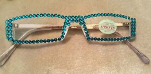 SEXY BLUE ZIRCON FULL READING GLASSES READERS MADE WITH SWAROVSKI 1.25 SILVER