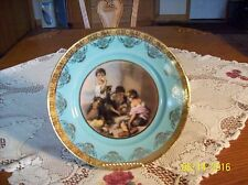 Western Germany JKW Porcelain China Plate Children Playing Scene Gilt Gold Trim