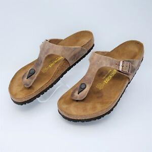 Birkenstock Gizeh Mens Brown Oiled Leather Sandals Size EUR 44 US M11 Regular
