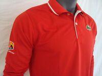 RARE Lacoste Vintage Red AUSTRALIAN OPEN Men's Long Sleeve Jersey Polo Shirt NWT