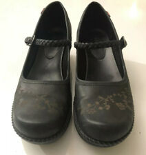 Ecco Women's Black Leather Mary Jane Braided Strap Floral Clogs Low Heel Size 39