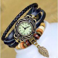 Vintage Retro Dame Frauen Um Quarz Lederband Armband Armbanduhr Wickeln L9P8
