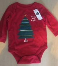 BNWT New Baby Gap Red Christmas Babygrow 3-6M 12-17lb- Merry & Bright Xmas Tree