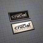 2 x CRUCIAL- Sticker Aluminium - Metallic Case Badge - 55mm x 25mm