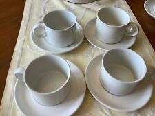 Set of 4 Midwinter Stonehenge White Coffee Cups & Saucers Made in England