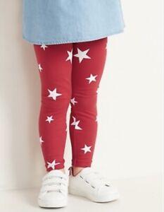 Old Navy Full Length Leggings Toddler Girl ~ Size 12-18M - 5T ~ Red with Stars