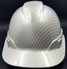 Hard Hat custom hydro dipped , OSHA approved WHITE METALLIC CARBON FIBER NEW