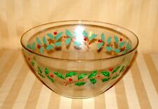 "Lenox Holiday 9.5"" Bowl Clear Glass Holly Berries New No Box"