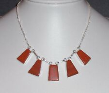 Brown Jasper & Silver Plate Geometric Bib Necklace - NEW