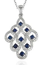 EJTP936 A Solid 14K White Gold 0.64CT Real Natural Blue Sapphire Diamond Pendant
