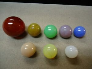 8 Vintage Akro Agate Co. Opalescent Glass Marbles   7/16  To  15/16   Mint