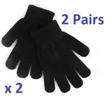 2 Pairs Black Magic Gloves Kids Boys Girls Children Winter Warm Stretch Outdoor