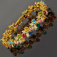 Rhinestone Round Cut Multi-Color Tennis Statement Gift 18K GP Fashion Bracelet