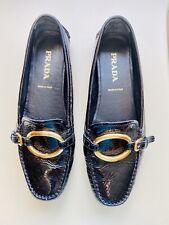 Classic Prada Women's Black Patent Leather Flats Size 37-1/2 (Size 7)