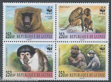 Guinea 2000 MNH 4v Blk, WWF, Monkeys, Groth, Wild Animals