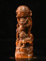 7 China Boxwood Wood Hand-Carved Two Foo Fu Dog Lion play Ball Auspicious Statue