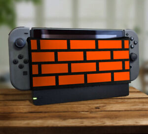Orange 8bit Brick Wall Dock Sock Screen Protector Cover For Nintendo Switch New