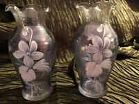 2 Lavender Luster Glass VASES with Hand Painted enamel White Flowers