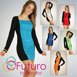 Sensual & Sexy Dress Bodycon Tunic Style Square Neck Stretchy Size 8-12  6003