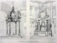 Rome, SAINT PETER'S BASILICA CHURCH Vatican City ~ 1850 Art Print Engraving RARE