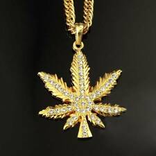 Gold Plated Iced Out Weed Marijuana Leaf Pot Diamond Pendant Necklace Chain NEW