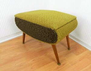 RETRO SPUTNIK SHERBORNE 60's VINTAGE FABRIC SEWING BOX STOOL DANSETTE LEG GREEN