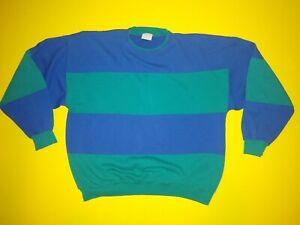 Vintage Layered Sweatshirt Adult Sz L Color Block Rare 90s Winter Green Blue