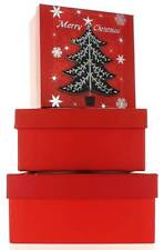 Set di 3 Natale Medio Quadrato nidificati Scatole Regalo-Moderno Rosso Nero Albero Natale