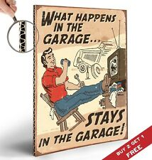 What Happens In the Garage Stays In The Garage A4 RETRO POSTER ART GIFT FOR MEN