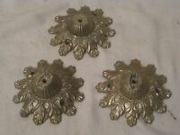 3 vintage solid ornate leaf detail metal hardware parts stand holder heavy