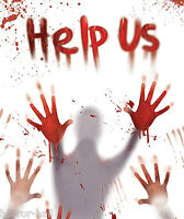 BLOODY VICTIM BODY HAND PRINTS--HELP US--Door Cover Wall Mural Horror Decoration