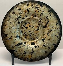 Urban Designs Shades of Gold & Black Glass Decorative Charger Plate and Stand