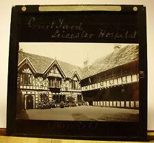 c1900s Court Yard LORD LEICESTER HOSPITAL Warwick - Glass Lantern Photo Slide