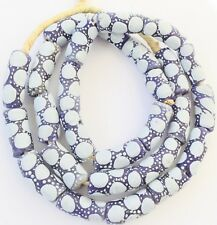 Ghana African Matched Blue polka dot Recycled glass trade beads