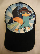 NEW Disney Phineas Ferb  Black Hat Ball Cap velrco fit Young Adult   Free Ship