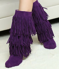 New Womens Tall High Heel Fringe Tassel Faux Suede Mid-Calf Boot Shoes All US Sz