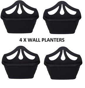 4 X 42cm BLACK VENETIAN WALL HANGING PLANTER FLOWER POT PLASTIC GARDEN OUTDOOR