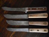 Vintage Wood Handle Lot of 4 Knives Knife Unmarked Old School Kitchen Farmhouse
