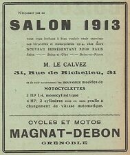 Y7765 Cycles & Motos MAGNAT-DEBON - Pubblicità d'epoca - 1913 Old advertising