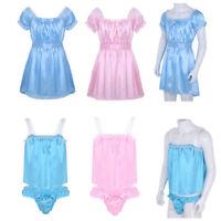 Sissy Men's Lingerie Nightwear Crossdresser Gays Babydoll Sleep Dress Underwear